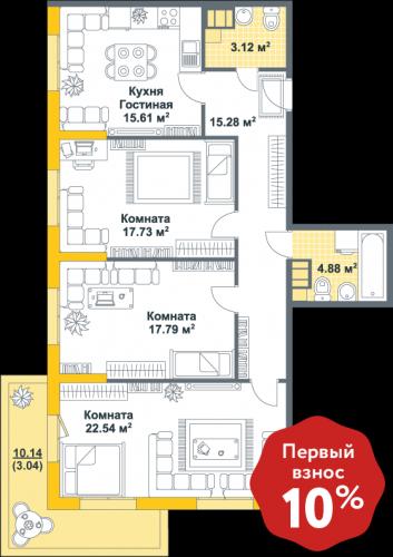 3-комнатная квартира на продажу (100,0 м<sup>2</sup>)