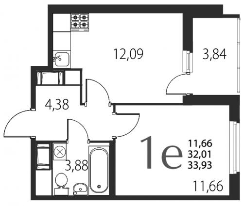 2-комнатная квартира на продажу (33,9 м<sup>2</sup>)