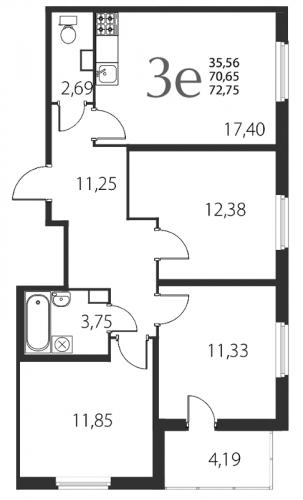 4-комнатная квартира на продажу (72,8 м<sup>2</sup>)