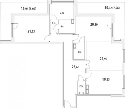3-комнатная квартира на продажу (149,8 м<sup>2</sup>)