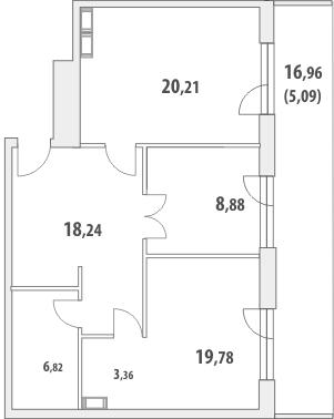 2-комнатная квартира на продажу (79,1 м<sup>2</sup>)