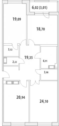 3-комнатная квартира на продажу (122,5 м<sup>2</sup>)
