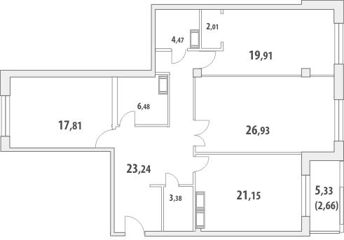 3-комнатная квартира на продажу (129,2 м<sup>2</sup>)