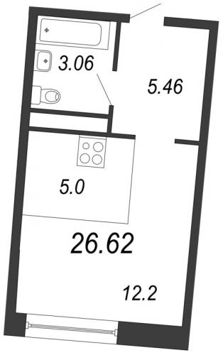 Студия на продажу (26,6 м<sup>2</sup>)