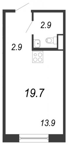 Студия на продажу (19,7 м<sup>2</sup>)