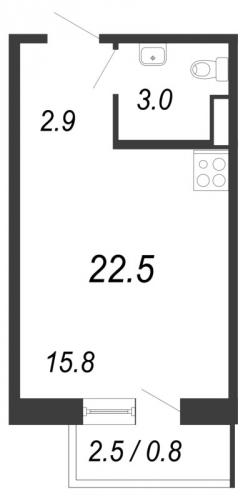 Студия на продажу (22,5 м<sup>2</sup>)
