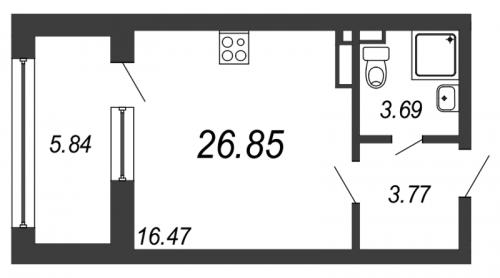 Студия на продажу (26,9 м<sup>2</sup>)