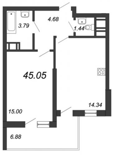 1-комнатная квартира на продажу (45,1 м<sup>2</sup>)