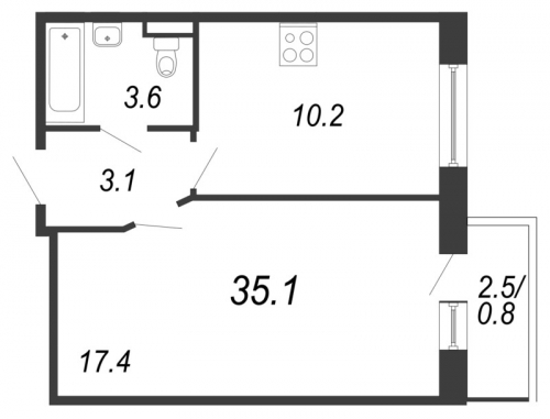 1-комнатная квартира на продажу (35,1 м<sup>2</sup>)