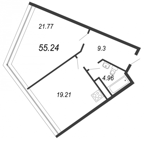1-комнатная квартира на продажу (55,2 м<sup>2</sup>)