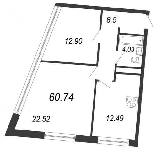 2-комнатная квартира на продажу (60,7 м<sup>2</sup>)