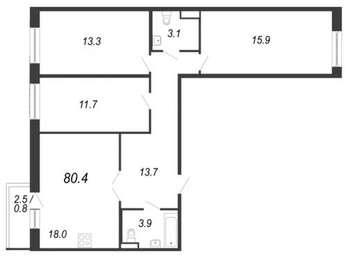 4-комнатная квартира на продажу (80,4 м<sup>2</sup>)