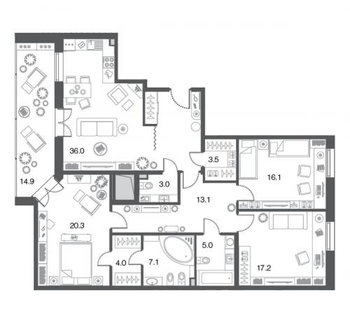 3-комнатная квартира на продажу (125,3 м<sup>2</sup>)