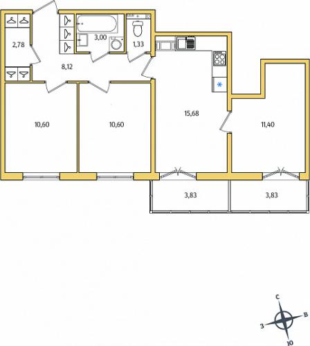 3-комнатная квартира на продажу (65,9 м<sup>2</sup>)