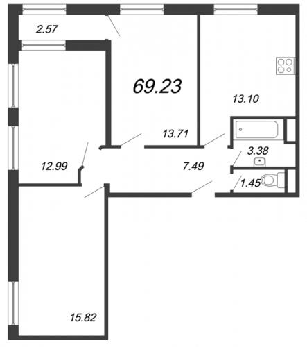 3-комнатная квартира на продажу (69,2 м<sup>2</sup>)