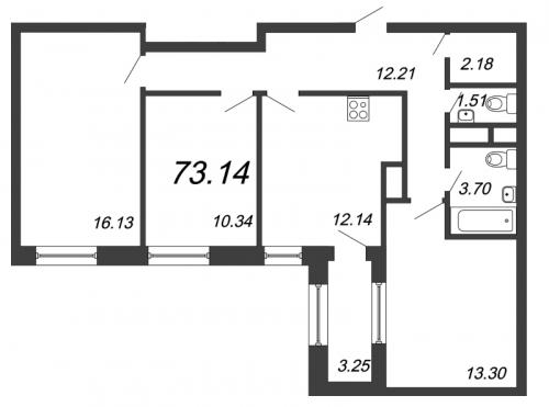3-комнатная квартира на продажу (73,1 м<sup>2</sup>)