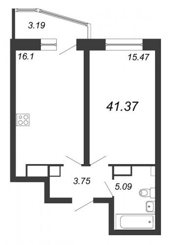 2-комнатная квартира на продажу (41,4 м<sup>2</sup>)