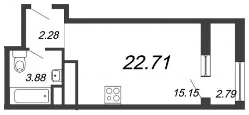 1-комнатная квартира на продажу (22,7 м<sup>2</sup>)