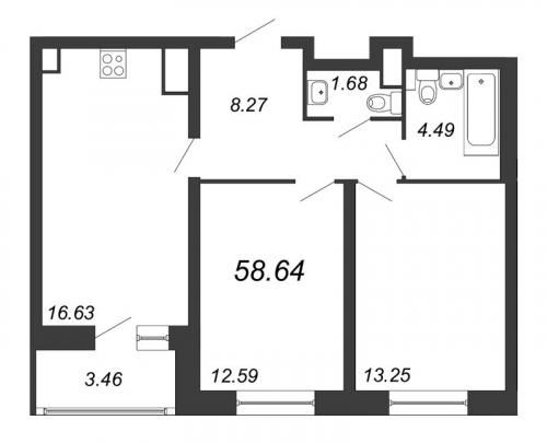 3-комнатная квартира на продажу (58,6 м<sup>2</sup>)