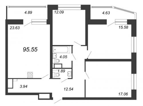 4-комнатная квартира на продажу (95,6 м<sup>2</sup>)