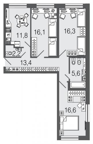 3-комнатная квартира на продажу (82,0 м<sup>2</sup>)