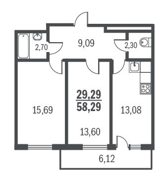 2-комнатная квартира на продажу (58,0 м<sup>2</sup>)