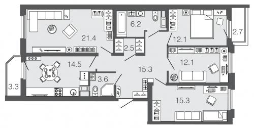 4-комнатная квартира на продажу (103,0 м<sup>2</sup>)