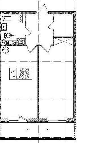 1-комнатная квартира на продажу (47,8 м<sup>2</sup>)