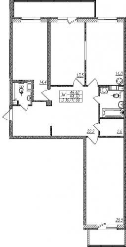 3-комнатная квартира на продажу (97,6 м<sup>2</sup>)