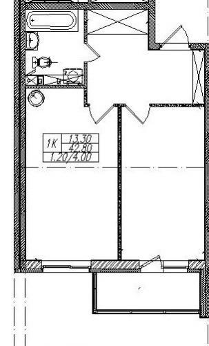 1-комнатная квартира на продажу (44,0 м<sup>2</sup>)