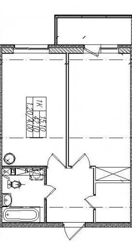 1-комнатная квартира на продажу (43,3 м<sup>2</sup>)