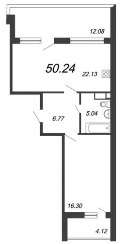 2-комнатная квартира на продажу (50,2 м<sup>2</sup>)