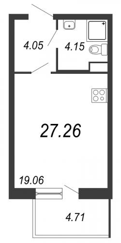 Студия на продажу (27,3 м<sup>2</sup>)