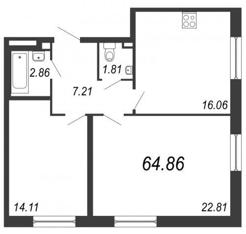 2-комнатная квартира на продажу (64,9 м<sup>2</sup>)