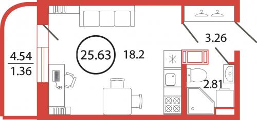Студия на продажу (25,6 м<sup>2</sup>)