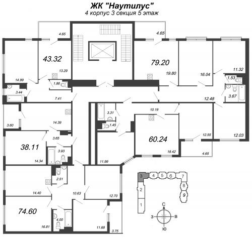 4-комнатная квартира на продажу (74,6 м<sup>2</sup>)