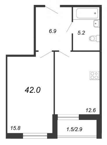 1-комнатная квартира на продажу (42,2 м<sup>2</sup>)
