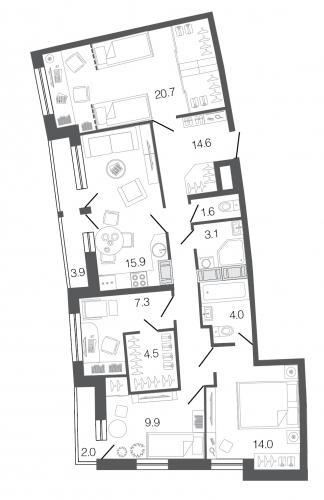 4-комнатная квартира на продажу (95,4 м<sup>2</sup>)