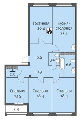 4-комнатная квартира на продажу (125,7 м<sup>2</sup>)