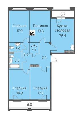 4-комнатная квартира на продажу (117,1 м<sup>2</sup>)