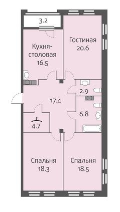 3-комнатная квартира на продажу (105,7 м<sup>2</sup>)