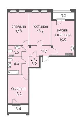 3-комнатная квартира на продажу (94,5 м<sup>2</sup>)