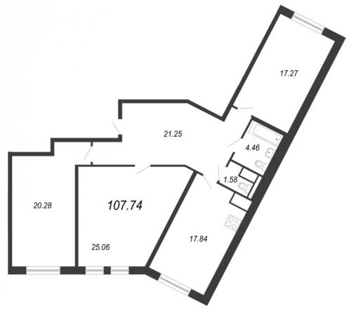 4-комнатная квартира на продажу (107,7 м<sup>2</sup>)