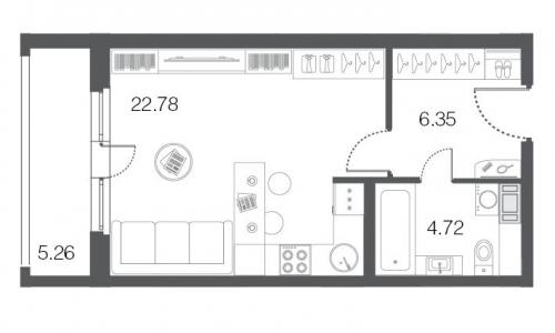 1-комнатная квартира на продажу (33,9 м<sup>2</sup>)