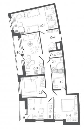 4-комнатная квартира на продажу (95,7 м<sup>2</sup>)
