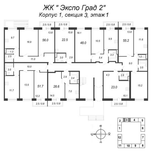 1-комнатная квартира на продажу (28,6 м<sup>2</sup>)