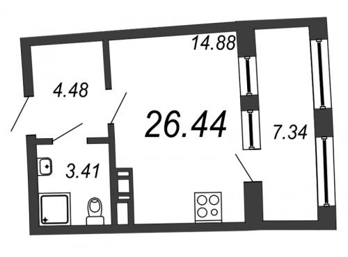 Студия на продажу (26,4 м<sup>2</sup>)