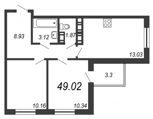 3-комнатная квартира на продажу (49,0 м<sup>2</sup>)