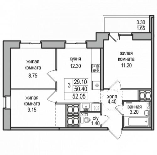 3-комнатная квартира на продажу (52,1 м<sup>2</sup>)