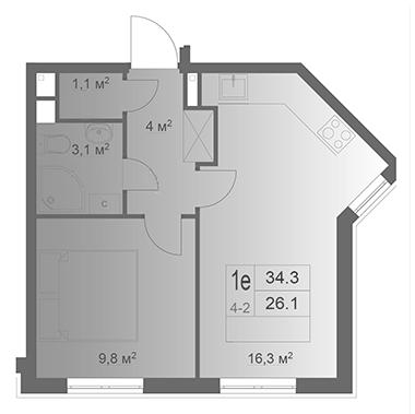 2-комнатная квартира на продажу (34,3 м<sup>2</sup>)
